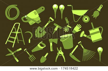Vector illustration set of icons of garden tools work equipment on a black background