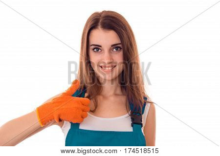 Portrait of a beautiful girl wore gloves which looks into the camera and smiling close-up isolated on white background