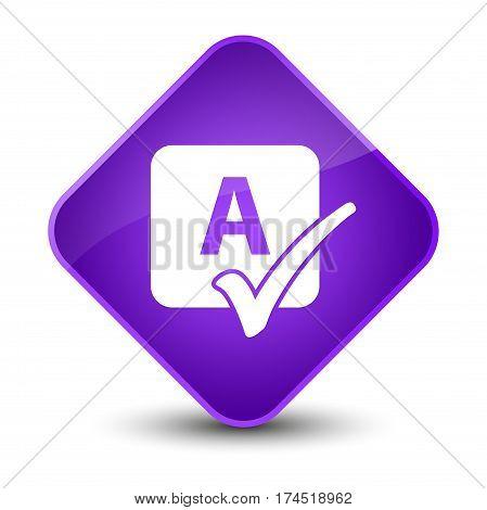 Spell Check Icon Elegant Purple Diamond Button