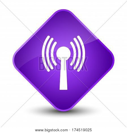 Wlan Network Icon Elegant Purple Diamond Button