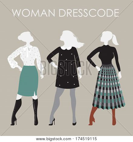 Woman dresscode vector illustration. Women in different outfits icons