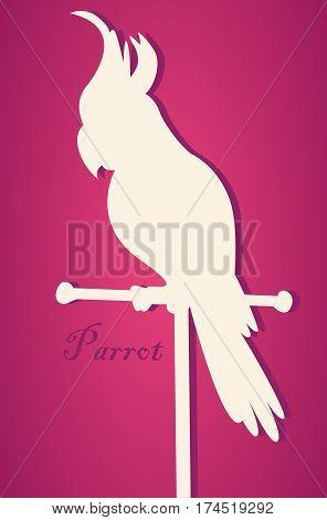 Vector silhouette of bird. Parrot on perch. Paper art.