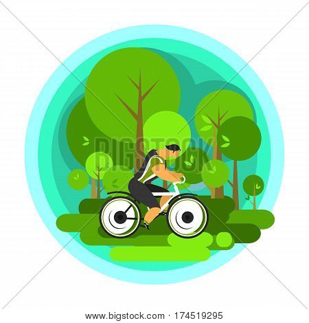 Vector illustration of a cyclist traveling through scenic spots alone