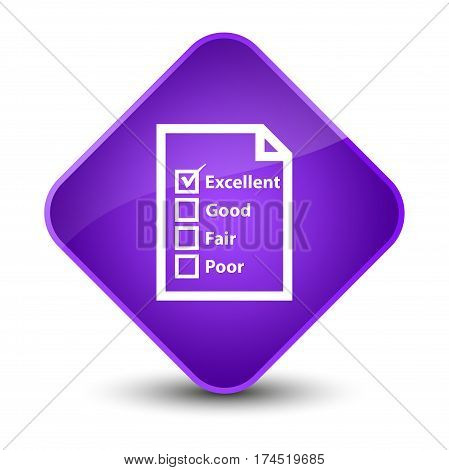 Questionnaire Icon Elegant Purple Diamond Button