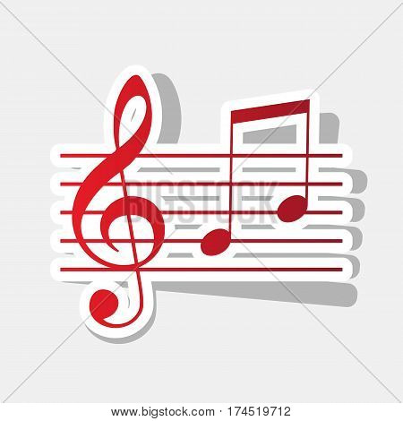 Music violin clef sign. G-clef and notes G, H. Vector. New year reddish icon with outside stroke and gray shadow on light gray background.