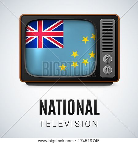 Vintage TV and Flag of Tuvalu as Symbol National Television. TV Receiver with Tuvalu flag.