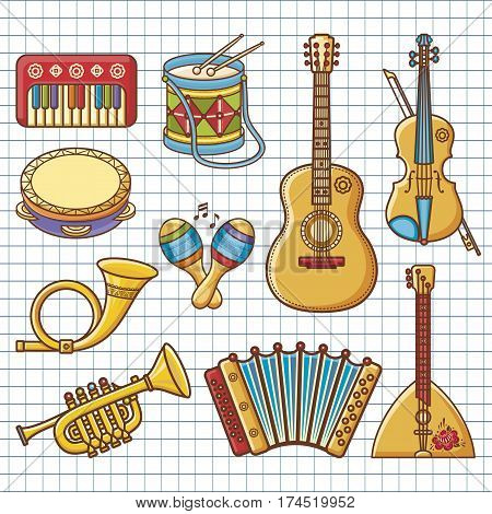 Musical instruments. Design set - piano, drum, tambourine, maracas, harmonica, accordion, balalaika, guitar, violin, post horn,synthesizer, trumpet. Monochrome vector.