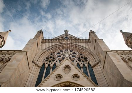 Dramatic Church Building Exterior From A Low Angle