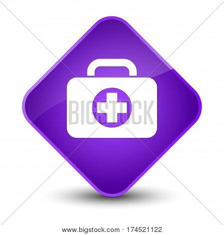 First Aid Kit Bag Icon Elegant Purple Diamond Button