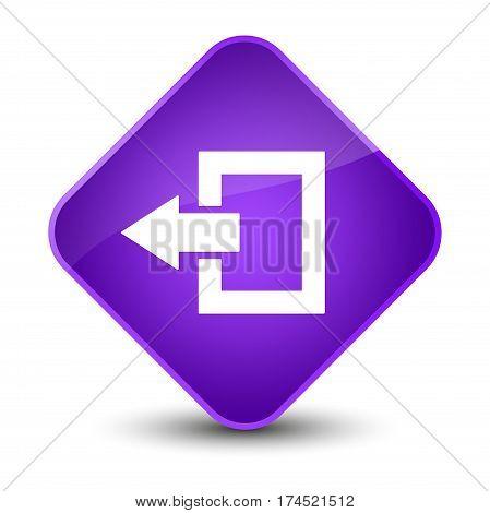 Logout Icon Elegant Purple Diamond Button