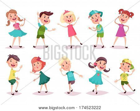 Children or kids playing and grimacing. Cartoon young boy in cap and girl with pigtails in skirt dancing. Kindergarten or schoolboy and schoolgirl with blush. Childhood and activity, play theme poster