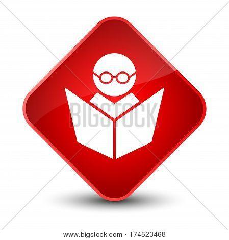 Elearning Icon Elegant Red Diamond Button