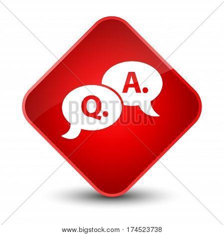 Question Answer Bubble Icon Elegant Red Diamond Button