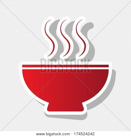 Soup sign. Vector. New year reddish icon with outside stroke and gray shadow on light gray background.