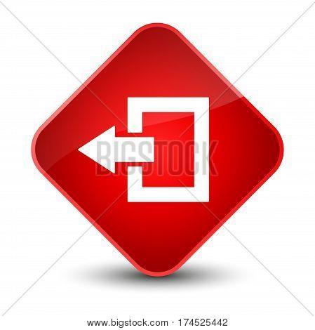 Logout Icon Elegant Red Diamond Button