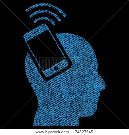 Head Smartphone Plugin Ring vector textured icon for overlay watermark stamps. Fabric blue vectorized texture. Symbol with unclean design. Rubber seal stamp with fiber textile structure.