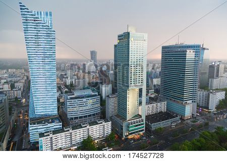 Warsaw, Poland - May 07, 2016. Aerial view with InterContinental Hotel, Warsaw Financial Center and Spektrum Tower in Warsaw