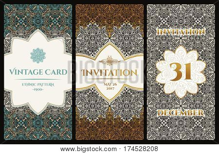 set of design elements labels, icon, logo, frame, luxury packaging for the product. Vertical gold cards on a black background. Templates vintage postcards. Vector copy search in my portfolio