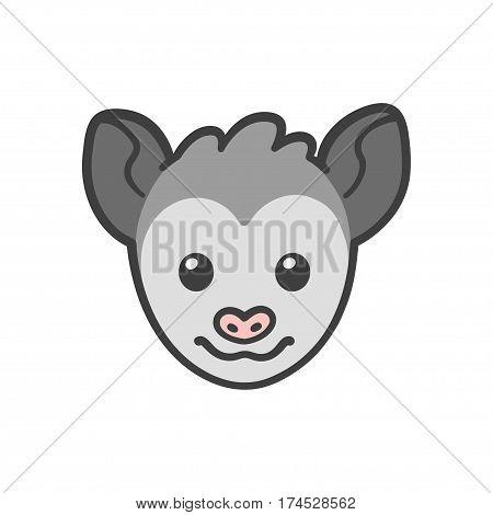 Cute cartoon smiling possum head funny animal drawing.