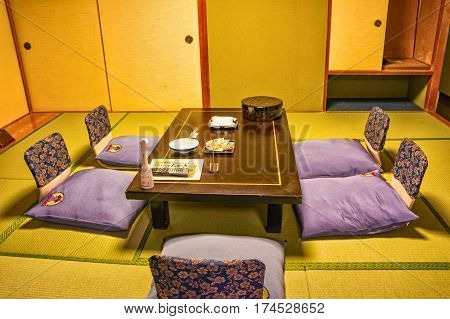 NIKKO, JAPAN - SEPTEMBER 06, 2012: Typical interior of traditional Japanese hotel