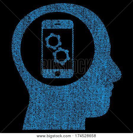 Smartphone Mind Control vector textured icon for overlay watermark stamps. Fabric blue vectorized texture. Symbol with scratched design. Rubber seal stamp with fiber textile structure.