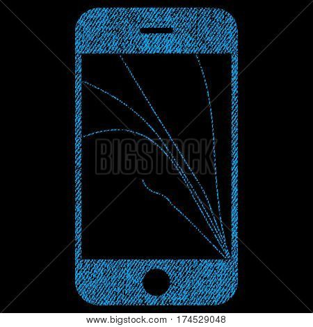 Smartphone Screen Cracks vector textured icon for overlay watermark stamps. Fabric blue vectorized texture. Symbol with dust design. Rubber seal stamp with fiber textile structure.