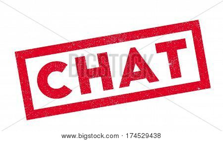 Chat rubber stamp. Grunge design with dust scratches. Effects can be easily removed for a clean, crisp look. Color is easily changed.