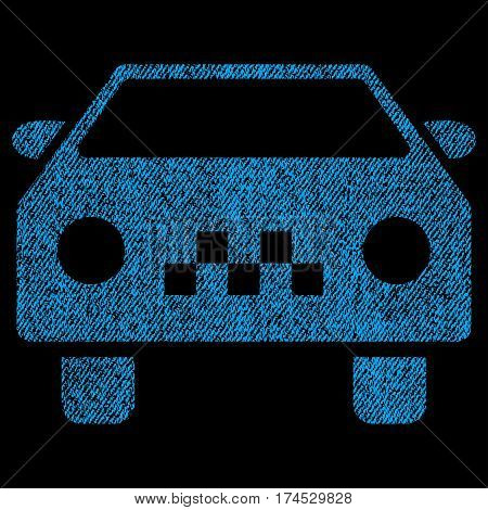 Taxi Car vector textured icon for overlay watermark stamps. Fabric blue vectorized texture. Symbol with dirty design. Rubber seal stamp with fiber textile structure.
