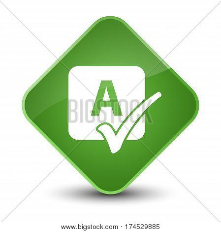 Spell Check Icon Elegant Soft Green Diamond Button