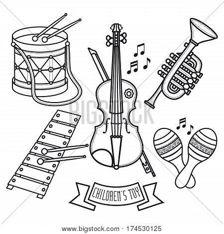 Musical instruments. Children's toys. Set. Violin, drum, glockenspiel, maracas, Trumpet.