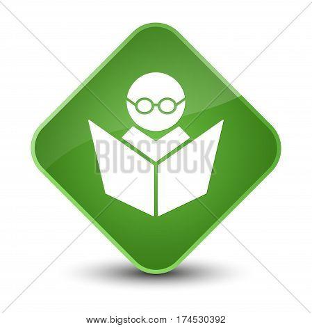 Elearning Icon Elegant Soft Green Diamond Button