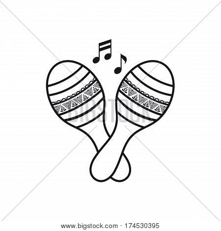 Maracas. Children's toys. Cartoon style. Monochrome. Template for coloring book.