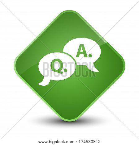 Question Answer Bubble Icon Elegant Soft Green Diamond Button