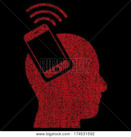 Head Smartphone Plugin Ring vector textured icon for overlay watermark stamps. Fabric red vectorized texture. Symbol with unclean design. Rubber seal stamp with fiber textile structure.