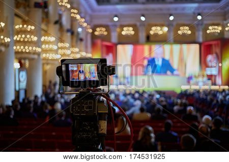 MOSCOW, RUSSIA - APR 23, 2016: Camera display during shooting of 8th congress of A Just Russia political party in Union House column hall.