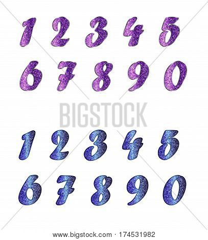 Standard set of shiny numbers in two variants. Bright collection of cool colors with spangles.  Isolated on white background.
