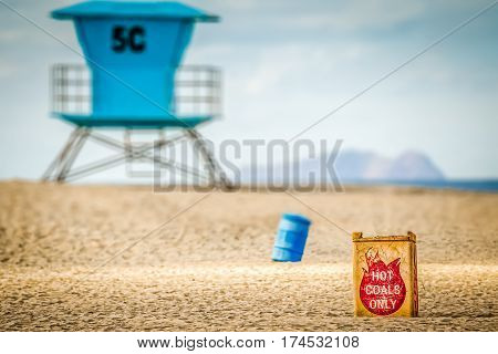 A lifeguard station and hot coal can at Coronado Beach