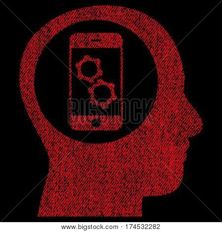 Smartphone Mind Control vector textured icon for overlay watermark stamps. Fabric red vectorized texture. Symbol with unclean design. Rubber seal stamp with fiber textile structure.