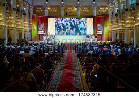 MOSCOW, RUSSIA - APR 23, 2016: Opening of 8th A Just Russia political party congress in Union House column hall.