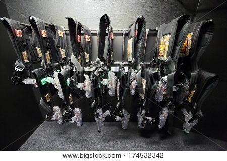 MOSCOW - DEC 13, 2014: Special vests and safe laser-automats for playing laser tag in the shopping center Capitol Vernadsky