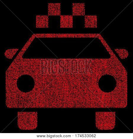 Taxi Automobile vector textured icon for overlay watermark stamps. Fabric red vectorized texture. Symbol with unclean design. Rubber seal stamp with fiber textile structure.