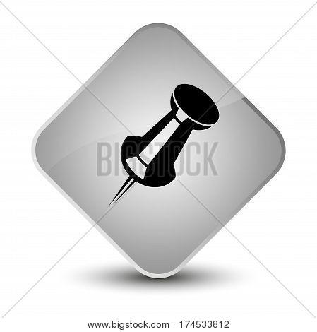 Push Pin Icon Elegant White Diamond Button