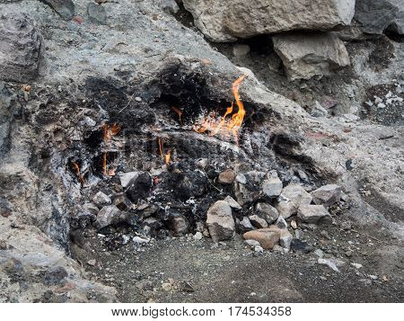 Chimaera eternal flame at Olympos mountain Turkey