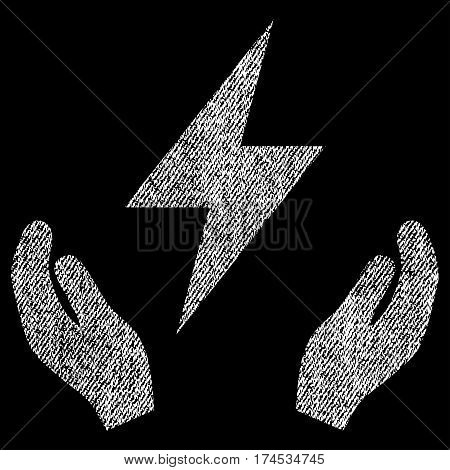 Electricity Maintenance Hands vector textured icon for overlay watermark stamps. Fabric white vectorized texture. Symbol with dirty design. Rubber seal stamp with fiber textile structure.
