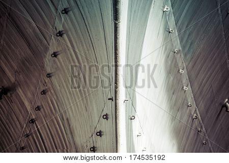 The hull of a world war two era battleship.