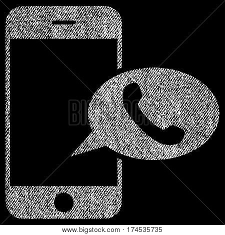Smartphone Call Balloon vector textured icon for overlay watermark stamps. Fabric white vectorized texture. Symbol with unclean design. Rubber seal stamp with fiber textile structure.