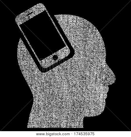 Smartphone Head Integration vector textured icon for overlay watermark stamps. Fabric white vectorized texture. Symbol with scratched design. Rubber seal stamp with fiber textile structure.