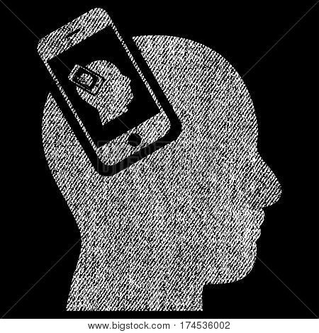 Smartphone Head Plugin Recursion vector textured icon for overlay watermark stamps. Fabric white vectorized texture. Symbol with unclean design. Rubber seal stamp with fiber textile structure.