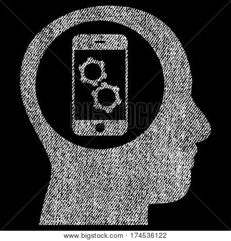 Smartphone Mind Control vector textured icon for overlay watermark stamps. Fabric white vectorized texture. Symbol with dust design. Rubber seal stamp with fiber textile structure.