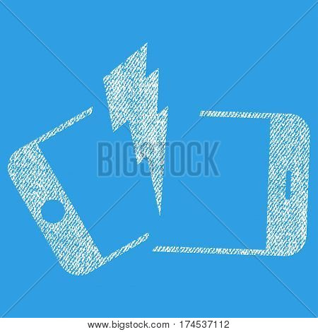 Broken Smartphone vector textured icon for overlay watermark stamps. Fabric white vectorized texture. Symbol with unclean design. Rubber seal stamp with fiber textile structure.
